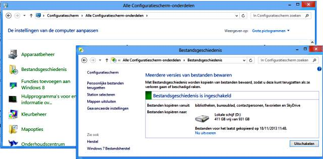 Windows 8 bestandsgeschiedenis