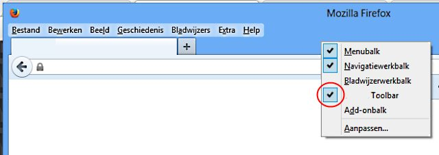 toolbar uitvinken
