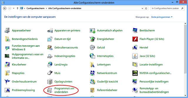 toolbar verwijderen configuratiescherm