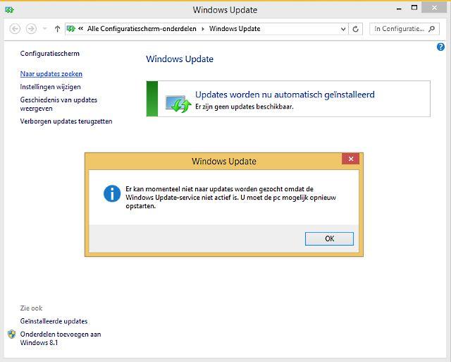 er kan momenteel niet naar updates worden gezocht omdat de windows update service niet actief is