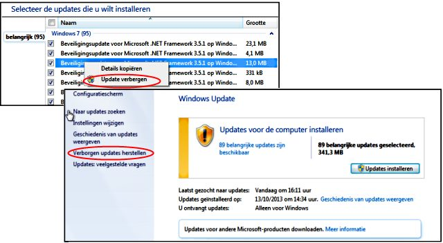 Windows updates verbergen