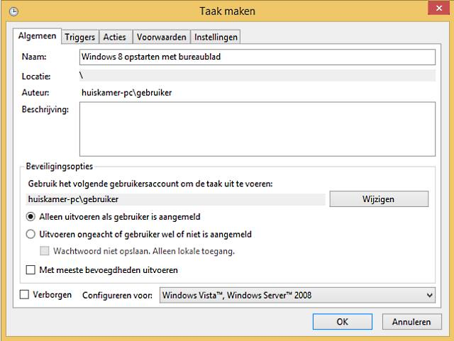 Windows 8 opstarten met bureaublad
