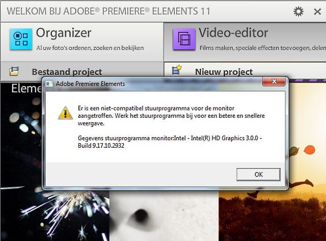 Adobe Premiere niet compatibel stuurprogramma
