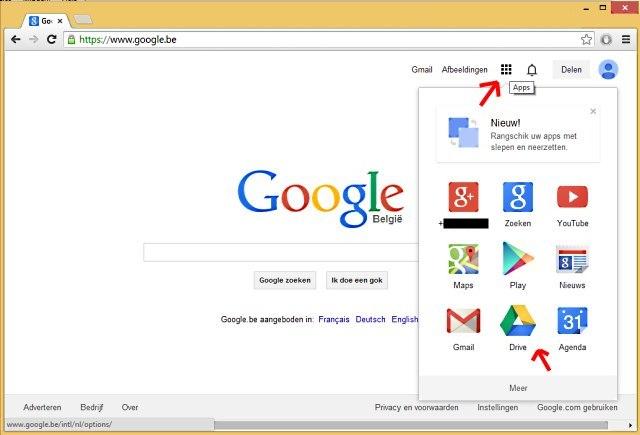Google Drive via Google website