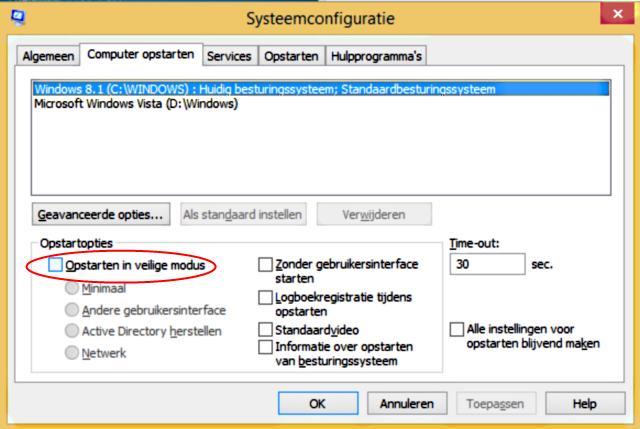 Windows 8 veilige modus via systeemconfiguratie