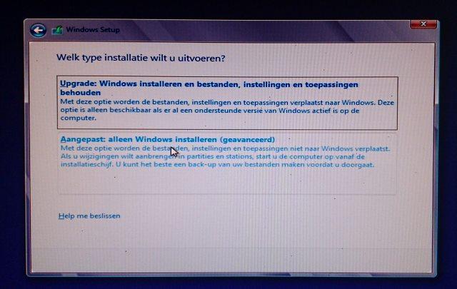 aangepaste installatie van Windows 8