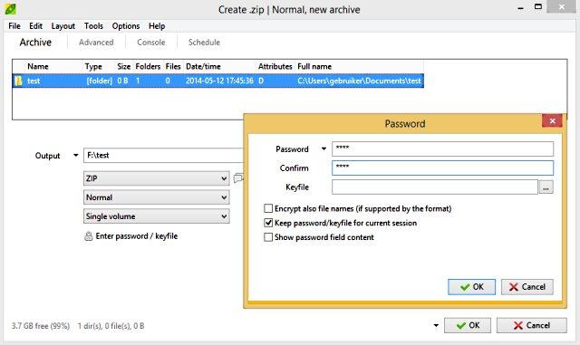 PeaZip wachtwoord instellen