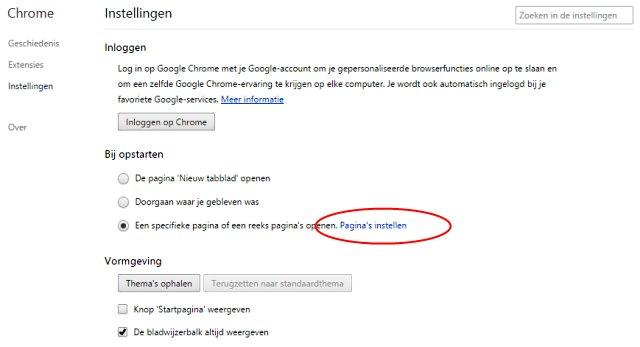 Google Chrome startpagina