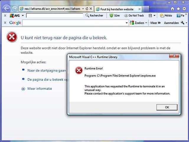 Internet Explorer Runtime error