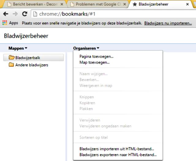 Google Chrome bladwijzers backuppen
