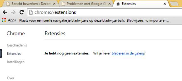 Google Chrome extensie beheren
