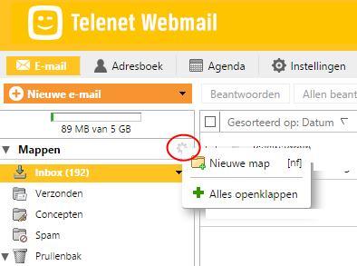 nieuwe map aanmaken in Telenet webmail