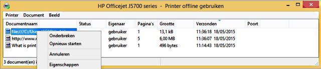 een afdruktaak in de printer spooler annuleren