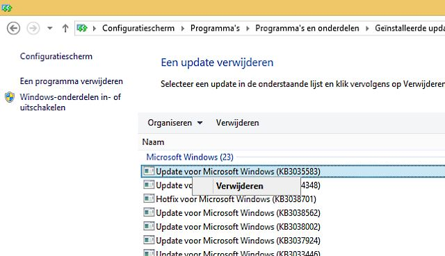 Windows 10 update vermelding