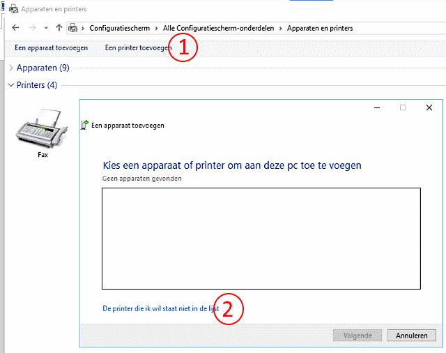 printer manueel installeren stap 1