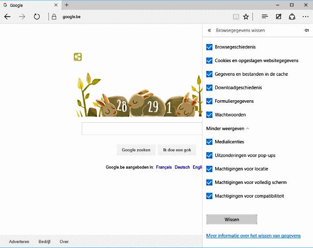 Microsoft Edge werkt niet opkuisen