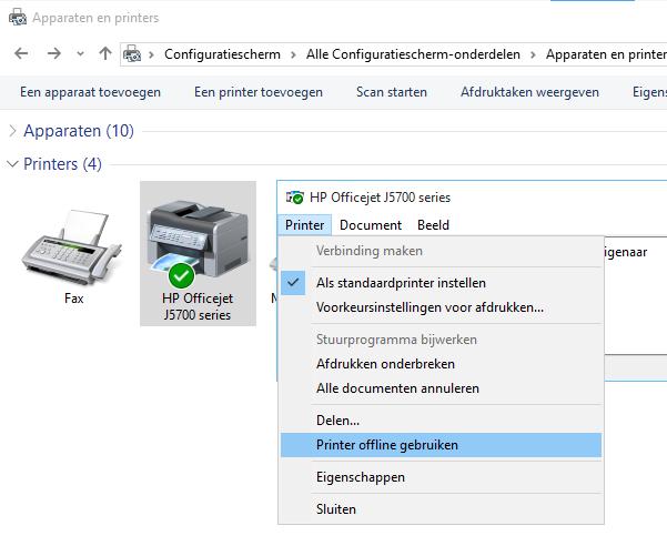 printer online offline zetten