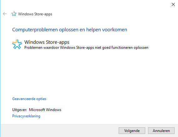 Windows 10 apps probleemoplosser