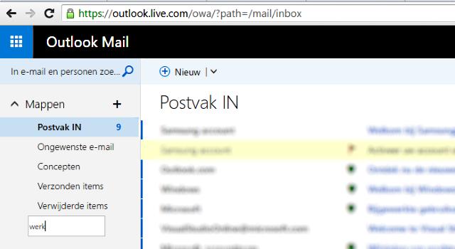 map aanmaken in Outlook mail