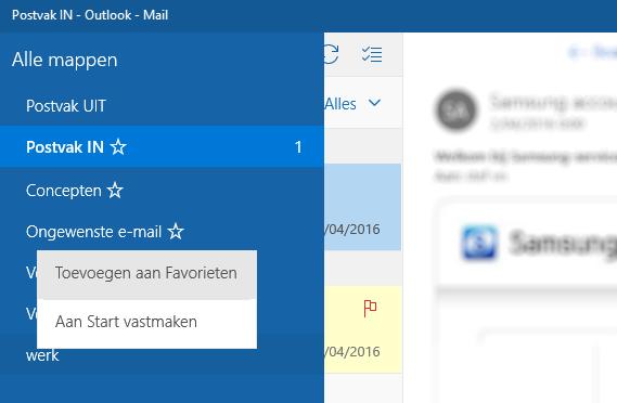 map toevoegen aan favorieten Windows 10 mail