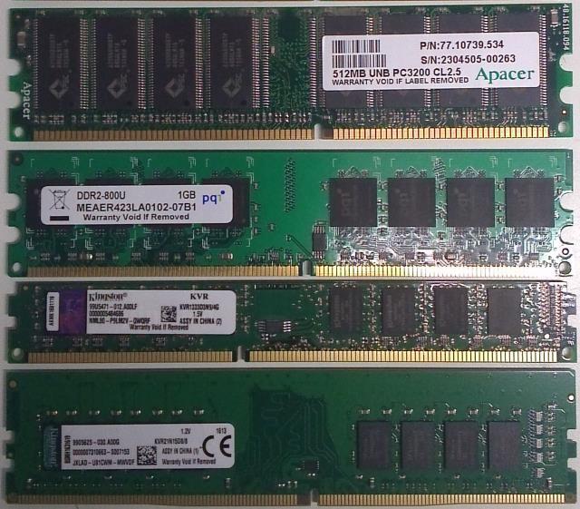 DDR DDR2 DDR3 DDR4 geheugen