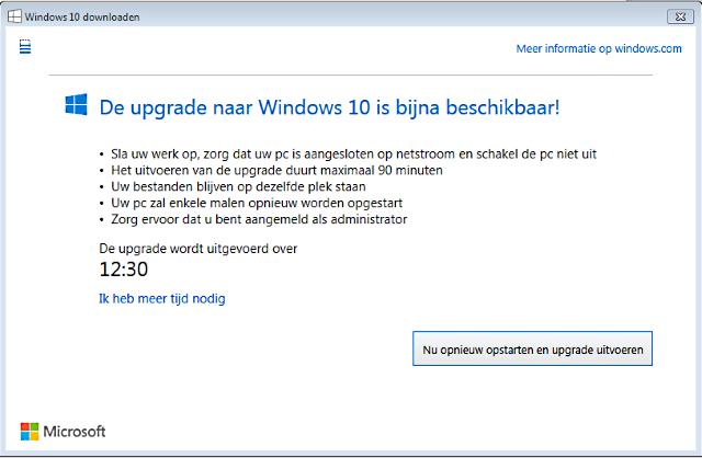 de upgrade naar Windows 10 is bijna beschikbaar