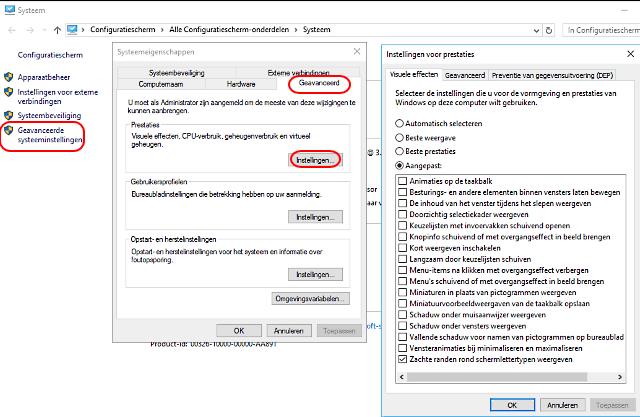 Windows 10 traag schakel visuele effecten uit