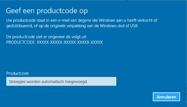 Windows 10 activeren met productcode van Windows 7 of 8