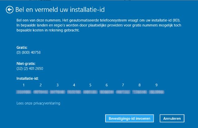 bellen en Windows 10 activeren