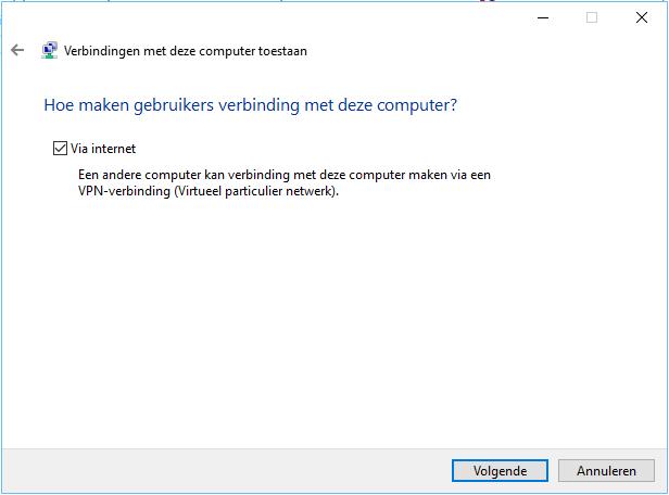 gebruikers via internet verbinding laten maken Windows 10 VPN