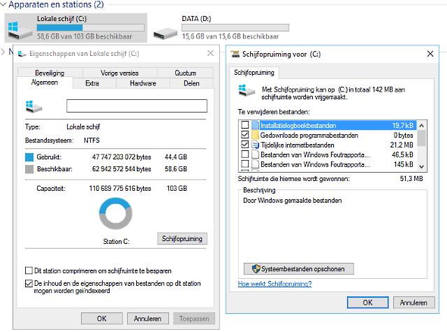 schijf opruimen Windows 10