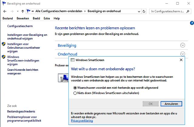 SmartScreen filter uitschakelen Windows 10