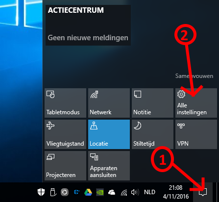 Windows 10 actiecentrum instellingen