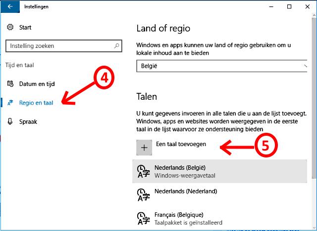 Windows 10 taal toevoegen