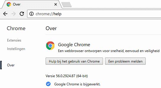 Chrome is bijgewerkt