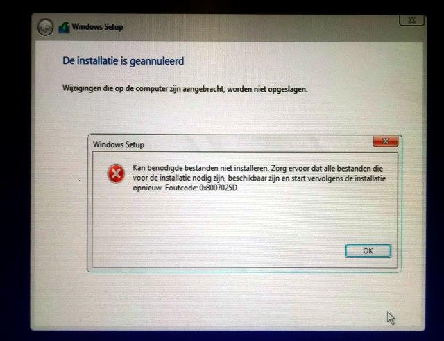 Foutcode 0x8007025d kan benodigde bestanden niet installeren