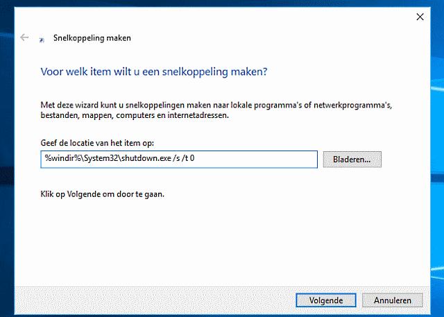Windows 10 afsluiten via snelkoppeling
