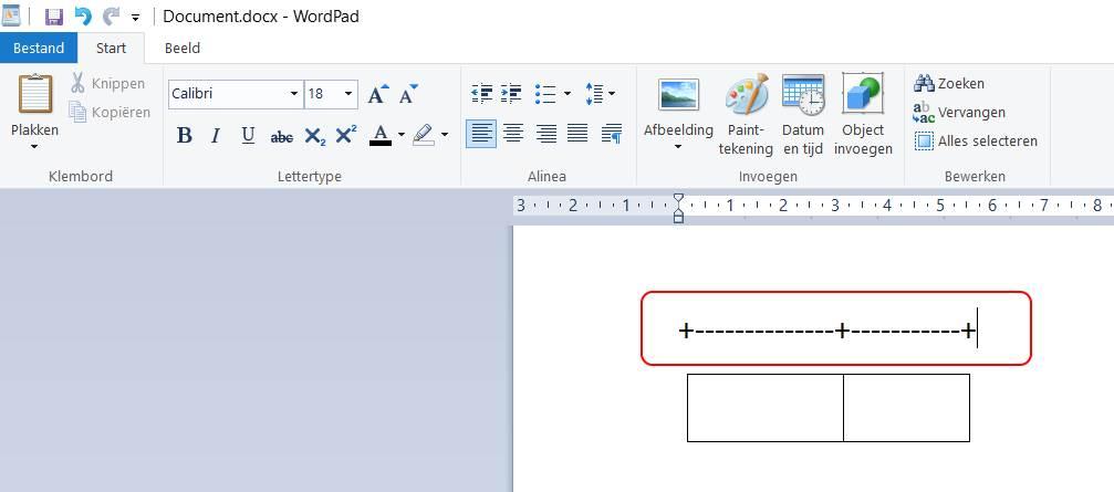 Een tabel maken in Wordpad