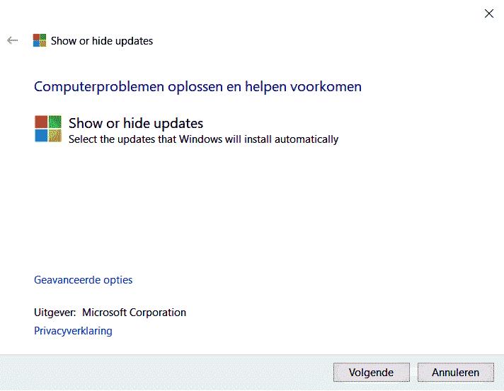 Windows 10 updates verbergen