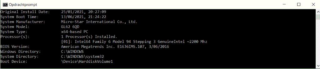 BIOS versie controleren